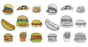 Sketchy fast food illustrations. Stock Photography