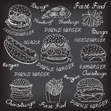 Sketchy fast food illustrations. Royalty Free Stock Photo
