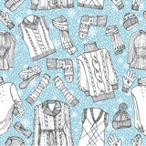 Sketchy Females knitted clothing ,snowflakes Royalty Free Stock Images