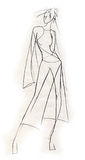 Sketchy Figure. Fashion illustration created in a spontaneous in pencil. Female body in a relaxed attitude Stock Photography