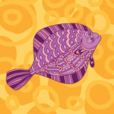 Sketchy fish halibut in cartoon style Royalty Free Stock Photography