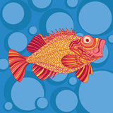 Sketchy fish sea bass in cartoon style. On the background of blue sea and bubbles Stock Photo