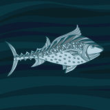 Sketchy fish tuna in cartoon style. On the background of sea waves Royalty Free Stock Photos