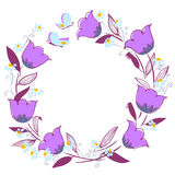 Sketchy floral wreath with butterfly Stock Image