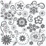 Sketchy Flowers Notebook Doodles Vector Set. Flowers Sketchy Doodles Hand-Drawn Back to School Notebook Vector Illustration Design Elements on Lined Sketchbook stock illustration