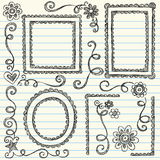 Sketchy Frames Back to School Doodle Set Vector. Hand-Drawn Sketchy Picture Frame Borders- Back to School Style Notebook Doodles with Flowers and Swirls. Vector Royalty Free Stock Photo