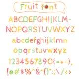Sketchy fruit alphabet Royalty Free Stock Image