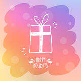 Sketchy gift box on misted window glass with bokeh and holiday g Royalty Free Stock Image