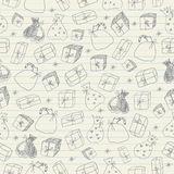 Sketchy gifts. Seamless pattern. Royalty Free Stock Photography