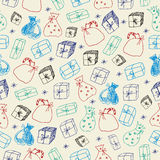 Sketchy gifts. Seamless pattern. Royalty Free Stock Image