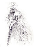 Sketchy Gothic Girl. Fashion illustration created in pencil in a sketchy dynamic style Stock Photography