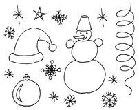 Sketchy  hand drawn Doodle cartoon set of objects and symbols on the Christmas. Sketchy  hand drawn Doodle cartoon set of objects and symbols on the Merry Stock Image
