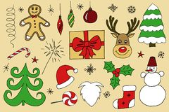 Sketchy  hand drawn Doodle cartoon set of objects and symbols on the Merry Christmas. Theme Royalty Free Stock Image