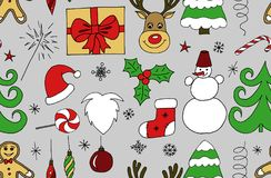 Sketchy  hand drawn Doodle cartoon seamless pattern of objects and symbols on the Merry Christmas Stock Image
