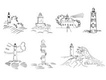 Sketchy hand drawn lighthouses Stock Photos