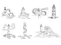 Sketchy hand drawn lighthouses. Vector set Stock Photos