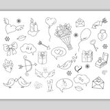 Sketchy hand drawn love doodles objects Royalty Free Stock Image