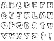 Sketchy hand drawn vector alphabet Stock Photos