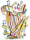 Sketchy Harp. Digital illustrated Harp on white Royalty Free Stock Photography