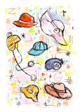 Sketchy hats. Hats illustration created in a colorful, sketchy style. Similar illustrations featuring other accessories are available in portfolio stock illustration