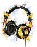 Sketchy Headphones on white. Background.Digital Drawing Royalty Free Stock Image