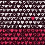 Sketchy hearts pattern. Vector hand drawn hearts icons Royalty Free Stock Photos