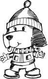 Sketchy Holiday Dog Vector. Illustration Stock Photos