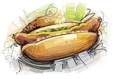 Sketchy Hot Dog Royalty Free Stock Images