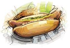 Sketchy Hot Dog. Isolated Hot Dog on white Background. Digital drawing Royalty Free Stock Images