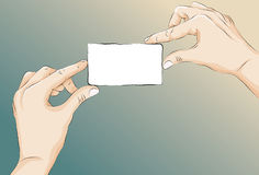 Sketchy illustrated two hands holding card Royalty Free Stock Photography