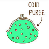 Sketchy illustration of cute dotted green coin purse Stock Images