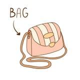 Sketchy illustration of elegant striped shoulder purse Stock Images