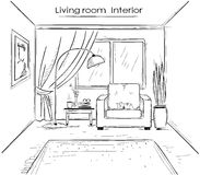 Sketchy illustration of living room interior.Vector black hand d Stock Images