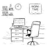 Sketchy illustration of office interior room.Vector graphic imag Royalty Free Stock Photos