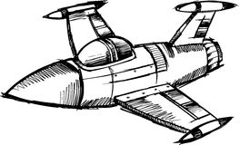 Sketchy Jet Vector Illustration Stock Photography