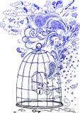 Sketchy klotter: Frihet! Royaltyfri Fotografi