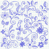 Sketchy Leaves and Vines Notebook Doodles. Hand- Drawn Sketchy Flowers, Leaves, and Vines Notebook Doodles Vector Illustration on Graph (Grid) Paper Background Stock Photo