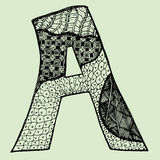 Sketchy letter A on light-green background. Free hand drawn. Vector illustration. Doodle image. Royalty Free Stock Photography