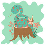 Sketchy little blue snake sitting on a tree stump  Stock Photos