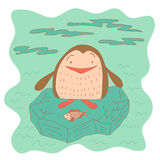 Sketchy little penguin with fish on an ice floe Royalty Free Stock Image