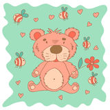 Sketchy little pink bear in cartoon style Stock Photos