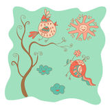 Sketchy little pink birds on a tree with the sun and clouds. In cartoon style Royalty Free Stock Photo