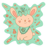 Sketchy little pink Bunny in cartoon style Royalty Free Stock Photography
