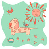 Sketchy little pink dog with the sun and birds Stock Images