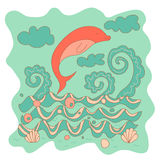Sketchy little pink dolphin on a background of ocean waves Royalty Free Stock Photo
