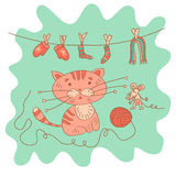 Sketchy little pink kitten and mousy with a ball of yarn Stock Image