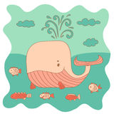 Sketchy little pink whale with a fish swims in the sea in cartoo Royalty Free Stock Photography