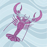 Sketchy lobster crawfish with Big Claws Stock Photo