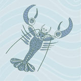 Sketchy lobster crawfish with Big Claws in cartoon style on the Stock Photo