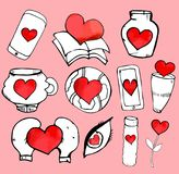 Sketchy love and hearts doodles. Vector illustration Royalty Free Stock Photography
